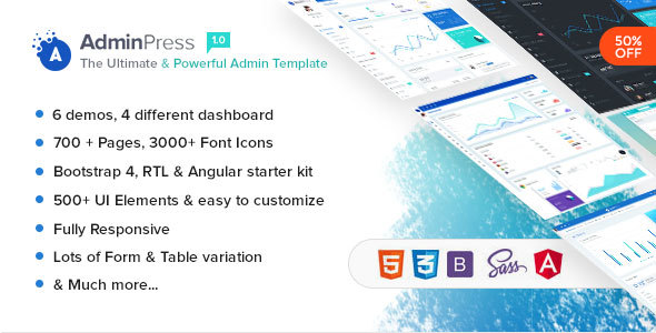 Admin Press - The Ultimate & Powerful Bootstrap 4 Admin Template - Admin Templates Site Templates TFx Derby Sota