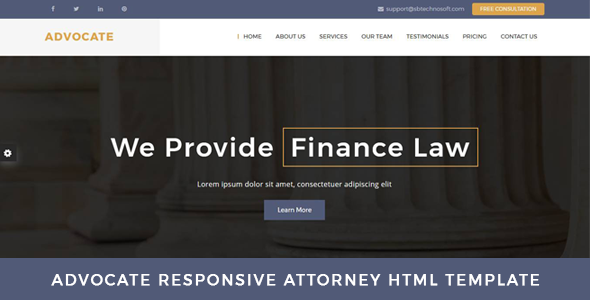 Advocate – Law Firm OnePage HTML Template – Business Corporate TFx Ryota Ned