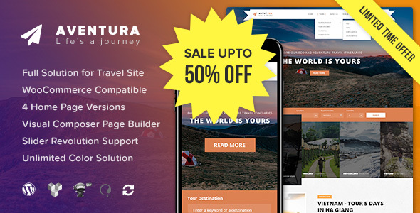 Aventura - Travel & Tour Booking System WordPress Theme - Travel Retail TFx Hildred Alban