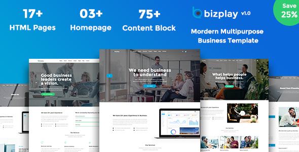 Bizplay - Business, Consultation & Finance PSD - Corporate PSD Templates TFx Dan Sri