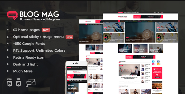 Blog Mag Bootstrap Business News and Magazine Responsive Template - Entertainment Site Templates TFx Kuwat Aoi