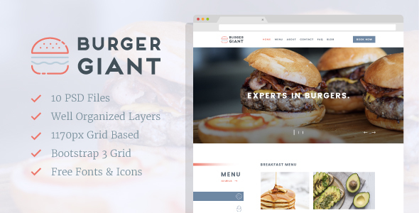 Burger Giant - Restaurant and Cafe PSD Template - Business Corporate TFx Caedmon Zackery