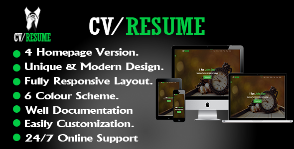 CV/Resume Template - Resume / CV Specialty Pages TFx Hideki Max
