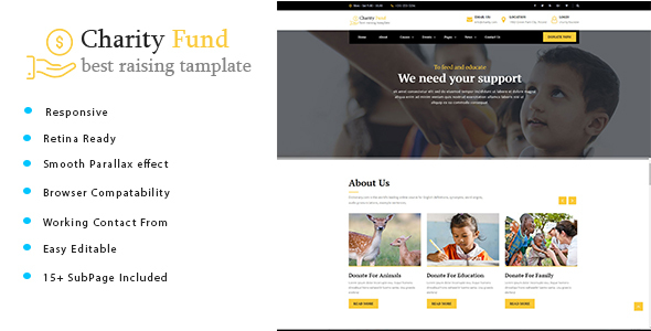 Charity Fund - Charity / Nonprofit / Fundraising HTML Template - Charity Nonprofit TFx Saburou Valerian