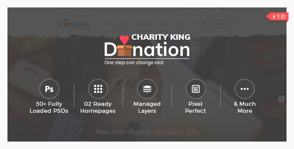 Charity King - Charity PSD Template - Charity Nonprofit TFx Slamet Grier