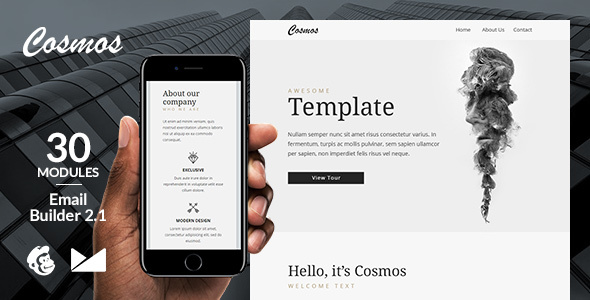 Cosmos Email Template + Online Emailbuilder 2.1 - Newsletters Email Templates TFx Kendrick Bishop