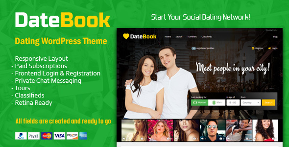 DateBook - Dating WordPress Theme - Entertainment WordPress TFx Shichirou Luther