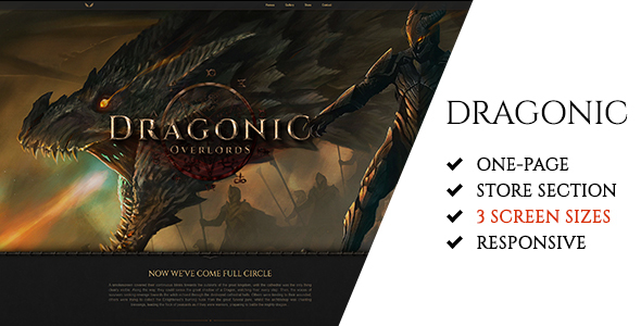 Dragonic: The Ultimate One-Page Premium Gaming PSD Template - Technology PSD Templates TFx Darwin Abner