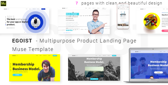 EGOIST - Multipurpose Product Landing Page  Muse Template - Landing Muse Templates TFx Tylor Page