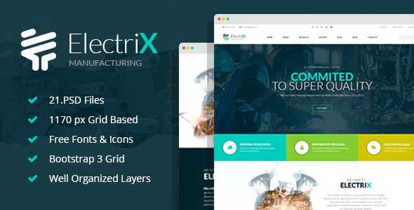 ElectriX - Industrial and Electronic Equipment Manufacturing PSD Template - Business Corporate TFx Millard Artaxerxes