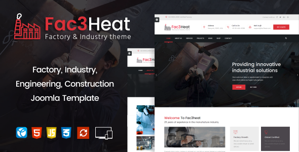 Fac3heat –   Factory, Industry, Engineering Joomla Template - Business Corporate TFx Brian Storm