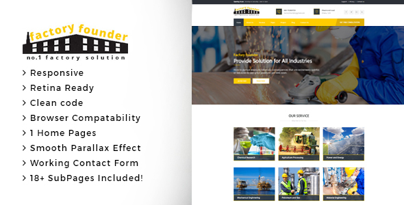 Factory Founder - Factory & Industrial Business HTML Template - Business Corporate TFx Xavier Dixon
