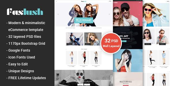 Faslush - A Modern & Minimalistic eCommerce PSD Template - Fashion Retail TFx Den Wapasha