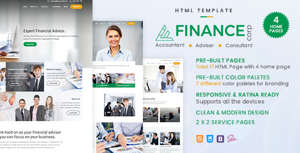Finance Corp - A Financial Services & Business Consulting Template - Corporate Site Templates TFx Katsu Kichiro