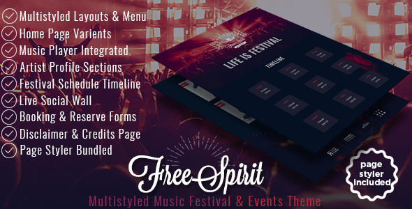 FreeSpirit – Music Festival & Event Template – Music and Bands Entertainment TFx Tri Tylar