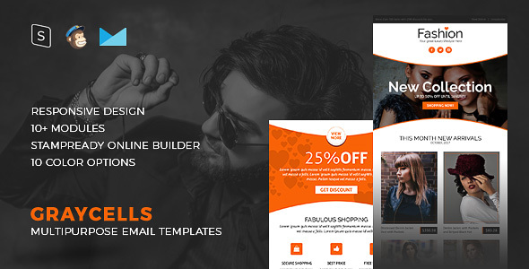 Graycells Fashion – Responsive Email Template + Stampready Builder – Newsletters Email Templates TFx Nigellus Jervis