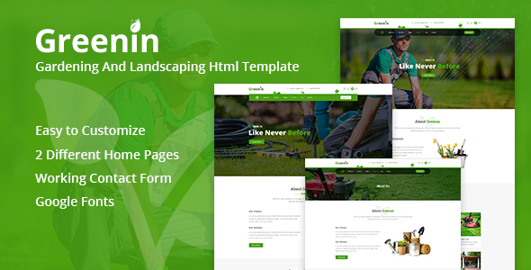 Greenin Gardening and Landscaping HTML Template - Business Corporate TFx Judd Ethelbert