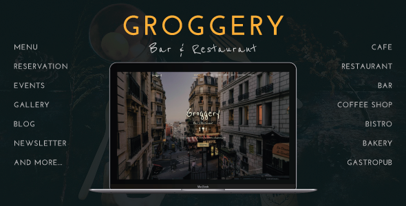Groggery - Responsive Bar & Restaurant WordPress Theme - Restaurants & Cafes Entertainment TFx Hovsep Tobin
