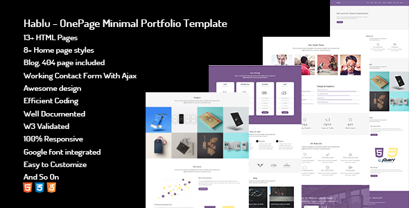 Hablu - OnePage Minimal Portfolio Template - Portfolio Creative TFx Driskoll Caelan