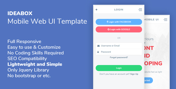 Ideabox - Mobile Web UI Template - Mobile Site Templates TFx Payton Karekin