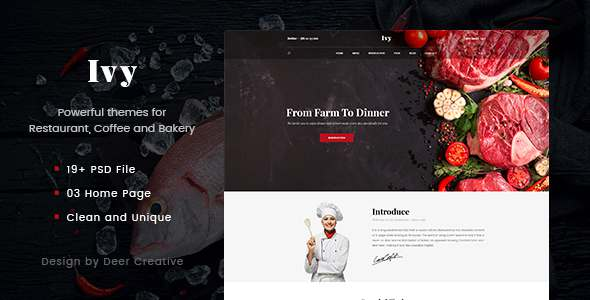 Ivy - Multipurpose Restaurant & Cafe PSD Template - Restaurants & Cafes Entertainment TFx Evelyn Travers