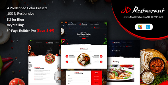 JD Restaurant - Responsive Joomla Restaurant Template - Restaurants & Cafes Entertainment TFx Denis Hardy