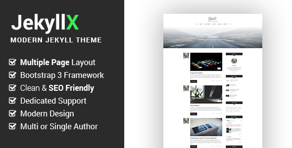 JekyllX - Super Fast Multi-Purpose Jekyll Blog Theme - Jekyll Static Site Generators TFx Tranter Mordikai
