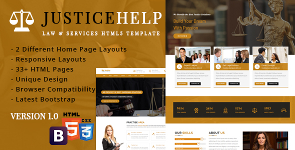 JusticeHelp - Law & Services Reasponsive Template - Business Corporate TFx Linford Royce