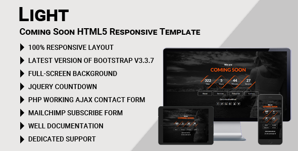 Light - Coming Soon HTML5 Responsive Template - Under Construction Specialty Pages TFx Nur Jackie