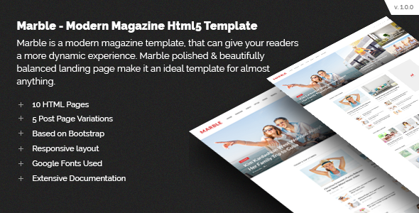 Marble - Modern Magazine HTML5 Template - Creative Site Templates TFx Sly Trevelyan