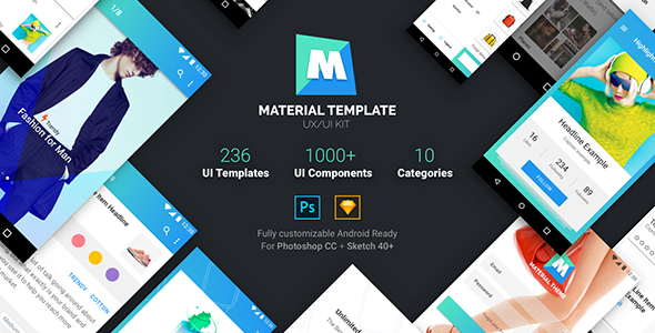 Material Template UX/UI Kit - Sketch Templates  TFx Buddha Xavior