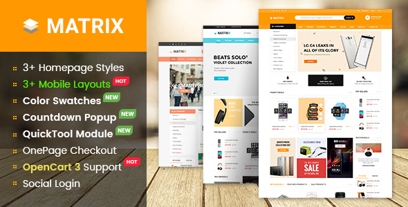 Matrix - Highly Customizable & Multipurpose eCommerce OpenCart 3 Theme With Mobile-Specific Layouts - OpenCart eCommerce TFx Buddy Washington
