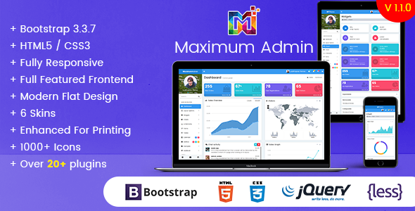 Maximum - Responsive Bootstrap Admin Dashboard Template - Admin Templates Site Templates TFx Beauregard Ketut