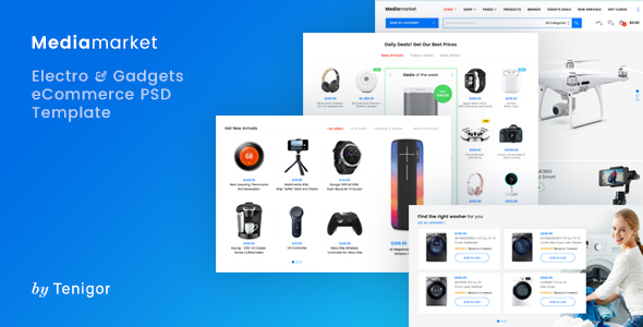 Media Market – Electronics and Gadgets eCommerce PSD template - Retail PSD Templates TFx Octavian Harper