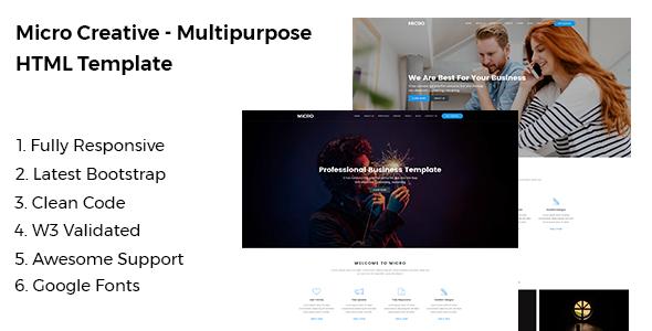 Micro - Creative Multipurpose HTML Template - Business Corporate TFx Trajan Camron