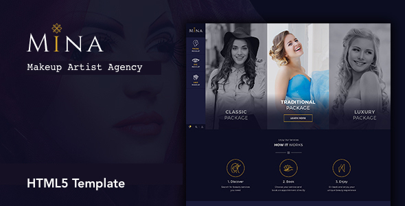 Mina - Beauty Salon Makeup HTML5 Template - Health & Beauty Retail TFx Derren Derick