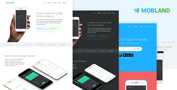 Mobile App Landing Page Templates — Mobland - Apps Technology TFx Pompey Swithun
