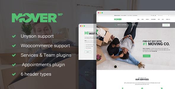 Mover - Delivery Services WordPress Theme - Business Corporate TFx Kenith Hyram