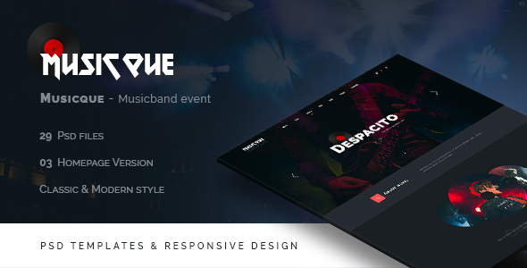 Musicque - Music Band Event PSD Template - Entertainment PSD Templates TFx Cahyo Val