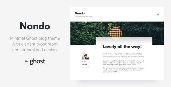 Nando - Minimal Ghost Blogging Theme - Ghost Themes Blogging TFx Zachery Antinanco