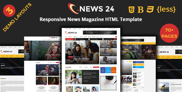 News24 – News Magazine Responsive HTML Template – Entertainment Site Templates TFx Danny Woodie