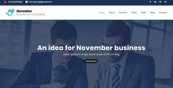 November -Business Consulting & corporate HTML5 Responsive Template - Business Corporate TFx Wilfred Gary