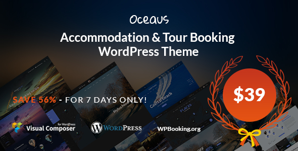 Oceaus - Accommodation and Tour booking WordPress Theme - Travel Retail TFx Vernon Trace