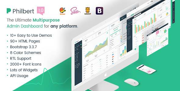 Philbert - Multipurpose Bootstrap Admin Dashboard Template + UI Kit - Admin Templates Site Templates TFx Forest Gord
