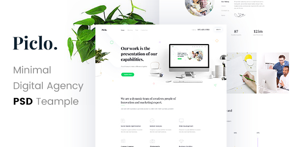 Piclo. – Minimal Digital Agency PSD Template – Portfolio Creative TFx Anthony Komang