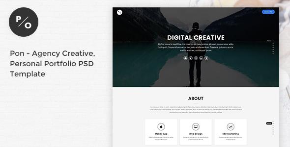 Pon - Responsive Agency Creative, Personal Portfolio PSD Template - Portfolio Creative TFx Ian Auberon