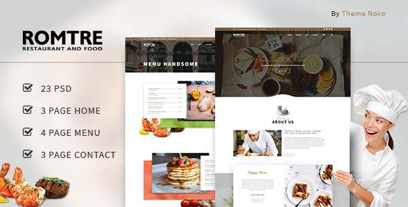 ROMTRE - Cafe & Restaurant PSD - Restaurants & Cafes Entertainment TFx Agung Layne