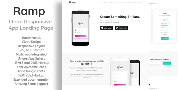 Ramp - Clean Responsive App Landing Page - Landing Pages Marketing TFx Amyas Kaeden