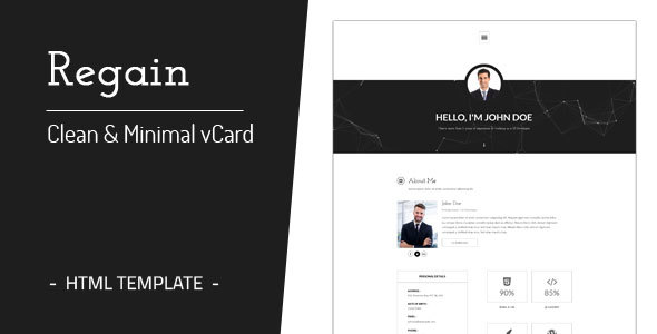 Regain - Clean & Minimal Personal vCard HTML Template - Virtual Business Card Personal TFx Lacey Randolf