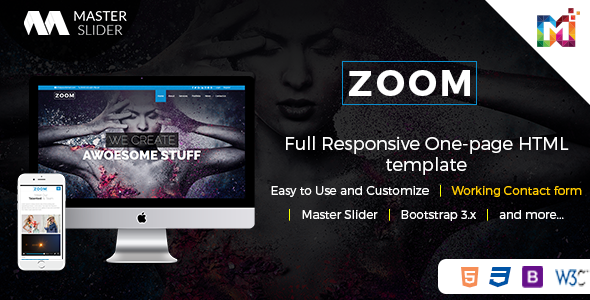 Responsive One Page Parallax - Zoom - Creative Site Templates TFx Sinjin Jere